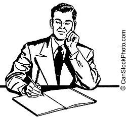 gráfico, trabajando, empresa / negocio, duro, ilustración, ...