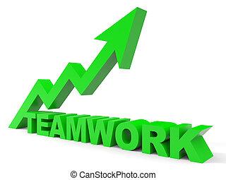 gráfico, trabalho equipe, cima, arrow.