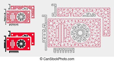 gráfico, triángulo, acelerador, res muerta, malla, vector, tarjetas, modelo, mosaico, icono