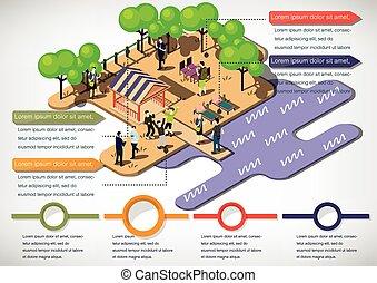 gráfico, urbano, parque