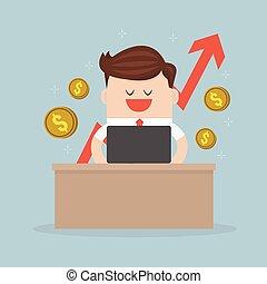 gráfico, vetorial, caderno, cheque, homem negócios