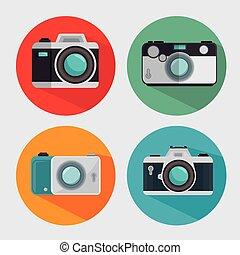 gráfico, vindima, modernos, câmera, desenho, foto