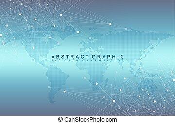 gráfico, visualization., illustration., punteado, comunicación, array., map., complejo, compounds., vector, grande, perspectiva, plano de fondo, mundo digital, geométrico, cibernético, datos, mínimo, científico