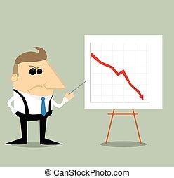 gráfico, zangado, apresentação, caricatura, homem negócios