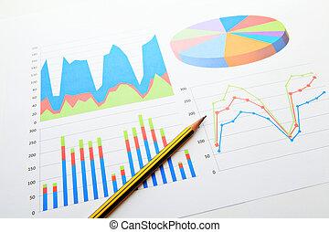 gráficos, datos, gráfico, análisis