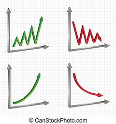gráficos, diferente, Conjunto, gráficos, empresa / negocio