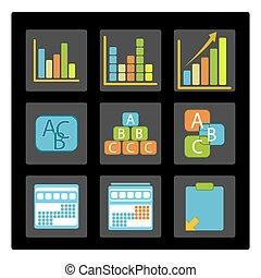 gráficos, diferente, empresa / negocio