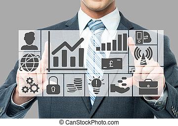 gráficos, e, gráficos, analisado, por, homem negócios
