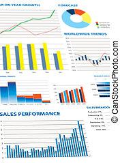 gráficos, econômico, seleção, financeiro
