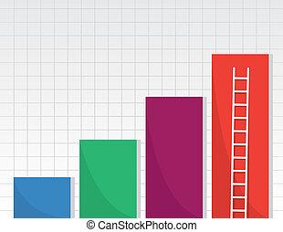 gráficos, escalera, barra