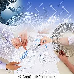 gráficos, financeiro, gráficos, negócio