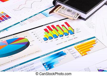 gráficos, gráficos, empresa / negocio, mesa.