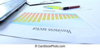gráficos, gráficos, empresa / negocio, mesa., th