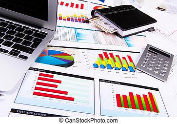 gráficos, gráficos, negócio, tabela.