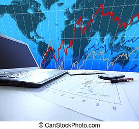 gráficos, gráficos, tabla, empresa / negocio,  TH