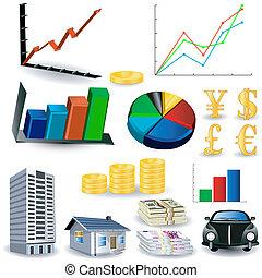 gráficos, herramienta, estadística, kit