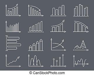gráficos, línea, gráficos, iconos