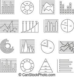 gráficos, linha, jogo, ícone