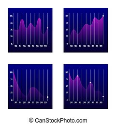 gráficos, mostrando, linha, desempenho, negócio, vendas