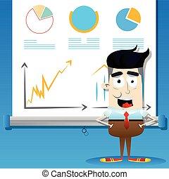 gráficos, pantalla, proyector, hombre de negocios