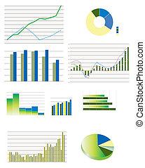 gráficos, típico, seleção, negócio, desempenho