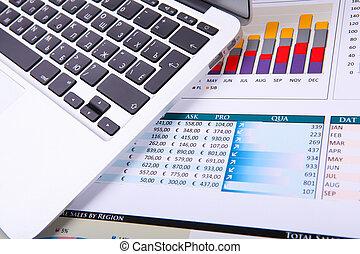 gráficos, tabela., gráficos, negócio