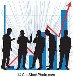 gráficos, uso, negócio