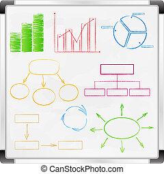 gráficos, whiteboard, diagramas
