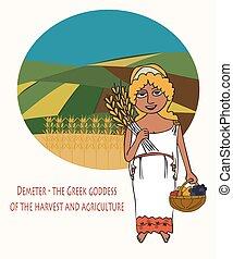 grán, bohyně, zemědělství, karikatura, demeter
