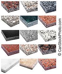 gránit, collage:, márvány, &