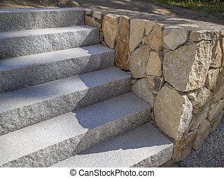 gránit, lépcsősor, vagy, lépések