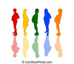 grávida, colorido, silhuetas