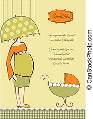 grávida, convite, expectante, chuveiro, mãe, bebê, novo