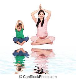 grávida, menina, criança, fazendo, exercício, siting