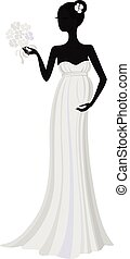 grávida, noiva, em, longo, vestido, vetorial, silueta
