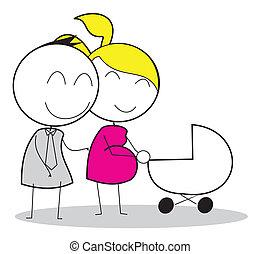 grávida, pai, mãe