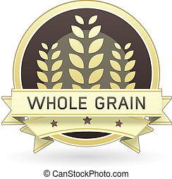 grão, alimento, inteiro, etiqueta