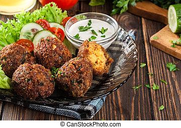 grão-de-bico, falafel, bolas, com, legumes