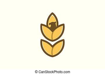 grão trigo, agricultura, e, águia, cabeça, logotipo, desenho, inspiração