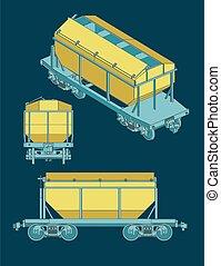 grão, vagão, hopper, ilustração