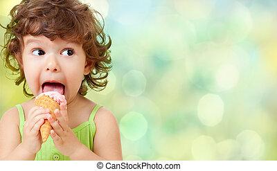 grädde, äta, is, unge