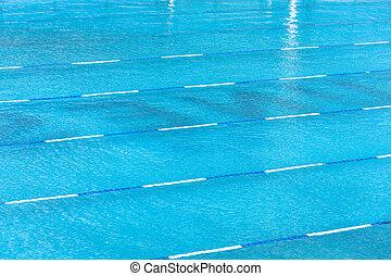 gränd, centrera, plattform, en, start, simning, pool.