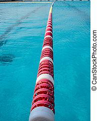 gränd, centrera, plattform, en, start, slå samman, simning