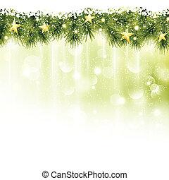 gräns, av, gran, ris, med, gyllene, stjärnor, in, mjuk, ljusgrönt, bakgrund