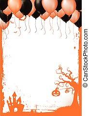 gräns, balloon, halloween, element, svart, apelsin, luft