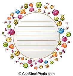 gräns, design, bakterie
