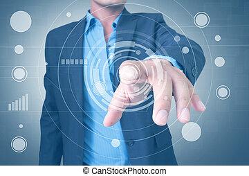 gräns flat, användande, touchscreen, man