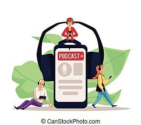 gräns flat, app, affisch, avskärma, radio, smartphone, podcast, visa