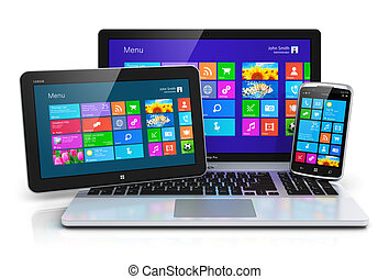 gräns flat, enheter, touchscreen, mobil