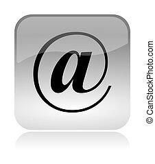 gräns flat, @, ikon, email, nät
